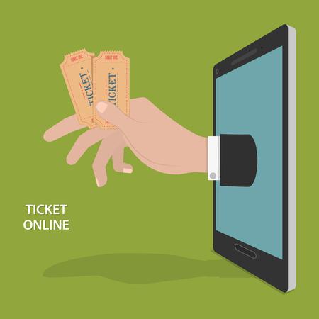 온라인 티켓 주문 벡터 개념.