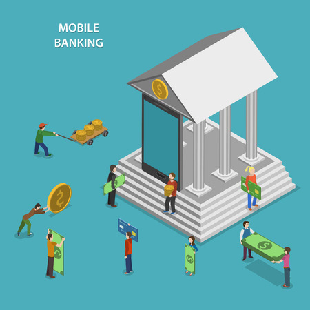 mobile banking: Mobile Banking Flat Isometric Vector Concept.