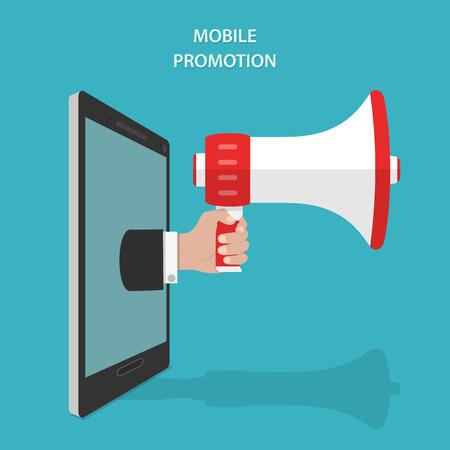megafono: Mobile Promoción plana isométrica Concept Vector.