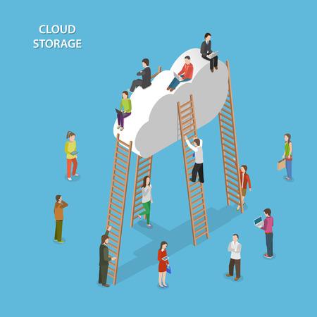 Cloud Storage Isometric Vector Concept 일러스트