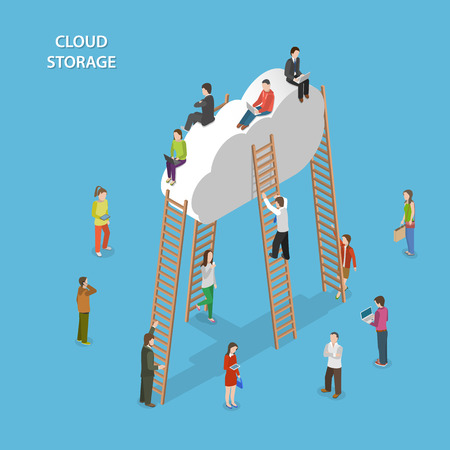 Cloud Storage Isometric Vector Concept Ilustrace