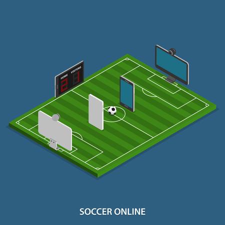 futbol soccer: Fútbol Online Vector isométrico Concept.