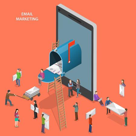 buz�n: El email marketing plana vector concepto isom�trico.