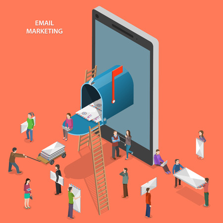 network and media: Email marketing flat isometric vector concept.