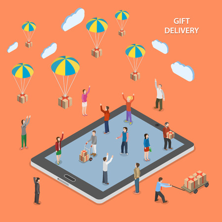 Gift delivery flat isometric illustration.