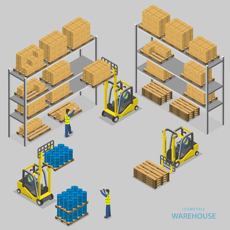 storage warehouse: Warehouse loading isometric illustration.