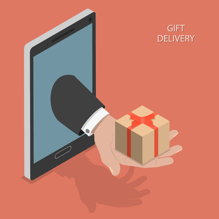 order online: Gift delivery isometric illustration.