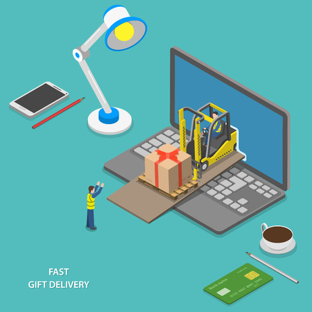 computer: Fast gift delivery isometric vector illustration. Illustration