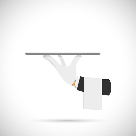 Waiter hand with tray and towel. Vector