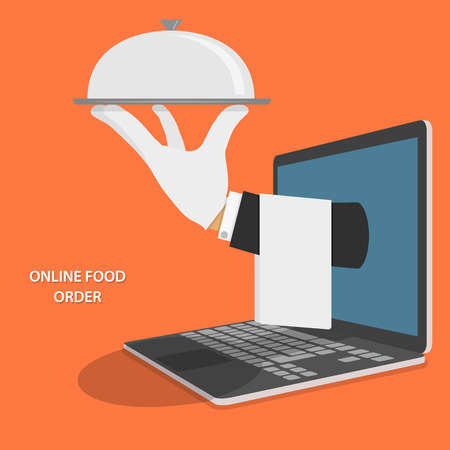 man with laptop: Online Food Delivery Concept Illustration.