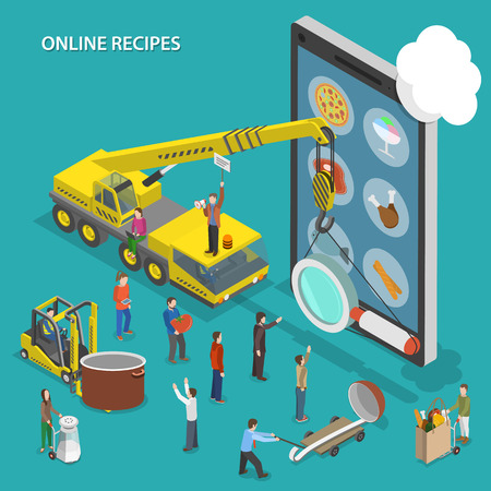 computer devices: Online recipes flat isometric vector concept.