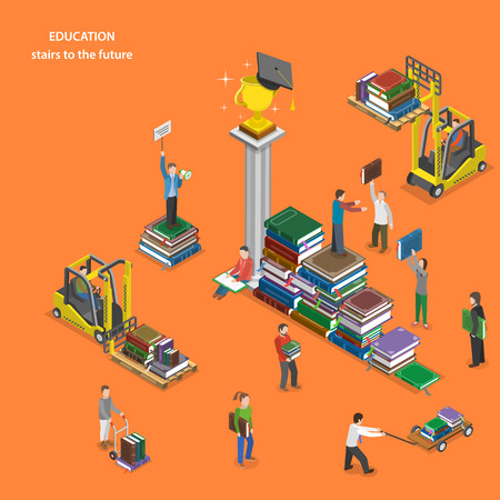 knowledge: Education flat isometric vector concept.