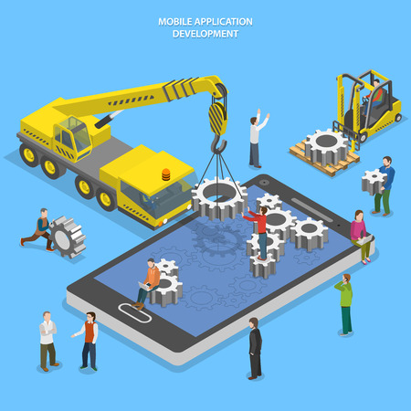 mobile phone: Mobile app development flat isometric