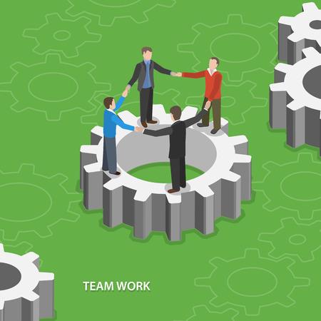 Team work flat isometric concept.