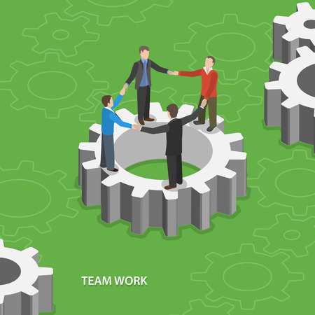 work group: Team work flat isometric concept. Illustration