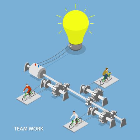 팀 작업 평면 아이소 메트릭 벡터 개념. 일러스트