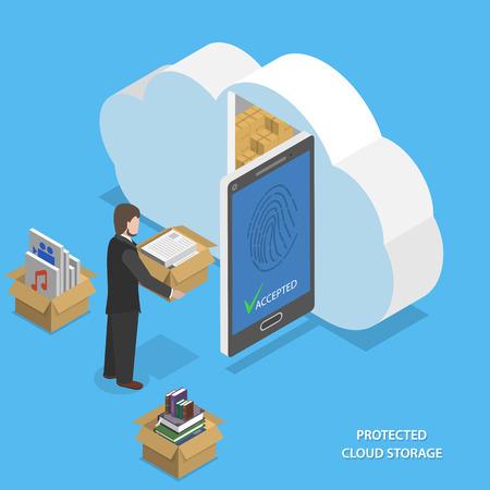 caja fuerte: Nube Protegida almacenamiento vectorial isométrica plana.