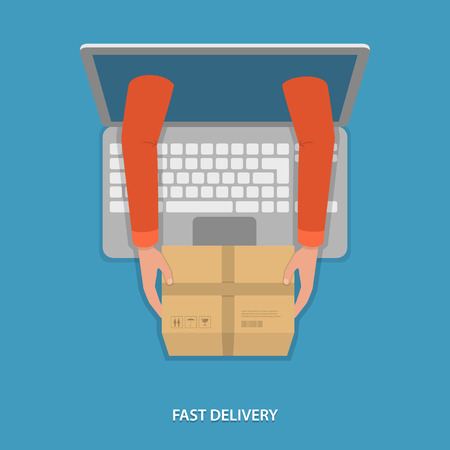 Fast goods delivery vector illustration. Hands of delivery man with parcel appeared from laptop. Иллюстрация