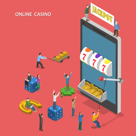 rueda de la fortuna: El casino en línea plana vector concepto isométrico. La gente juega la máquina tragaperras en línea y golpear el jackpot.