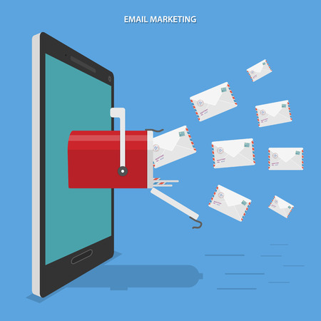Email marketing flat vector conceptual illustration. Letters flies to mobile phone with mailbox on its screen.