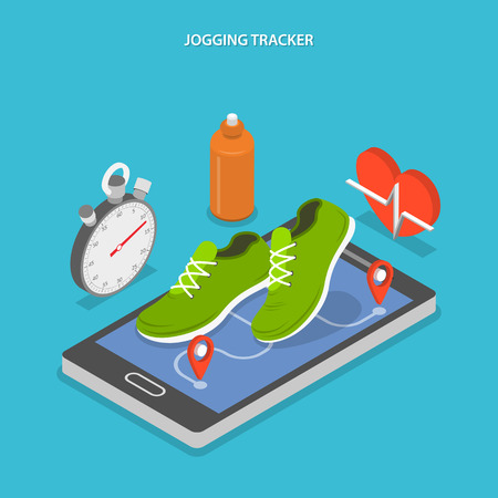 phone icon: Jogging and running flat isometric concept. Sneakers on smartphones screen and stopwatch, bottle of water and heart near it.