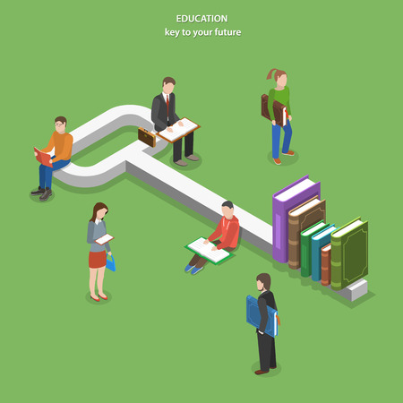 education: Education flat isometric vector concept. People read books near key, part of which are books. Illustration