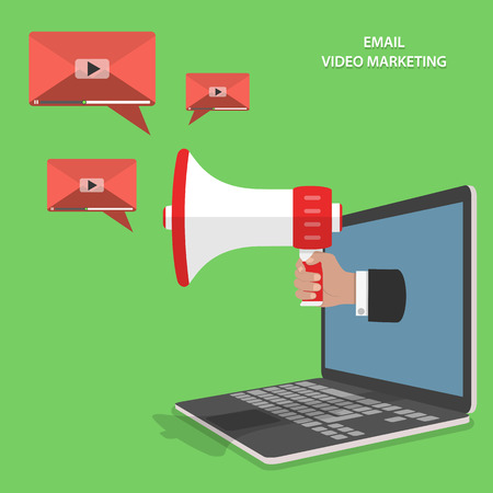 emails: Video email marketing flat isometric vector concept. Mans hand with megaphone appeared from laptop and sends video emails.