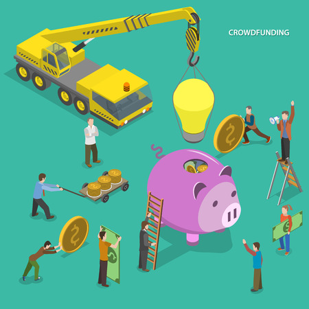 Crowdfunding flat isometric vector conceptual illustration. People are putting money to piggy bank and placing bulb on it.