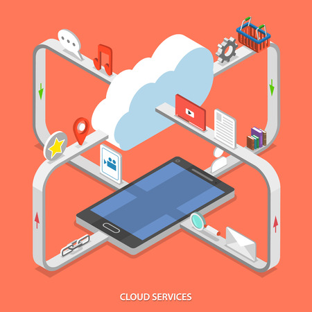 Cloud services flat isometric vector concept. Web content moving process between cloud services and mobile device.