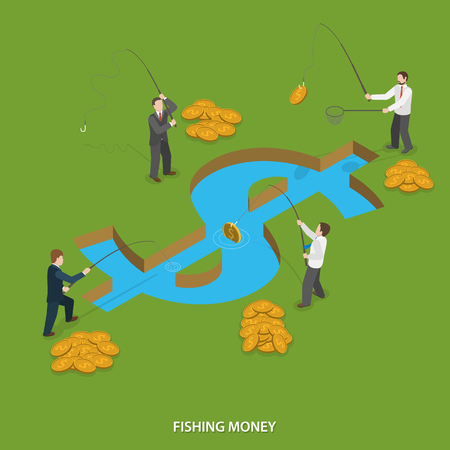 Fishing money flat isometric vector concept. Businessmen are fishing money in water body that looks like dollar sign. Illustration