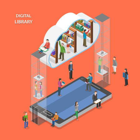app banner: Digital library flat isometric vector concept. People going to cloud library through mobile device. Illustration