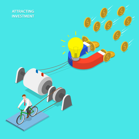 Investment attraction vector flat isometric concept. Businessman generates energy for lighting bulb and attracting money using magnet. Ilustração