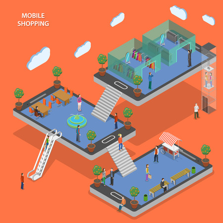 Mobile shopping flat isometric vector concept. People walk by store that constructed with smartphones. Illustration