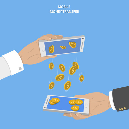 saving: Mobile money transfer vector concept. Two hands take mobile devices and exchange coins.