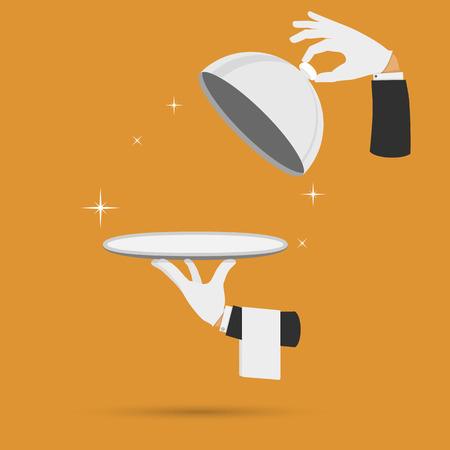 Ober handen met cloche deksel deksel en een handdoek vector illustratie. Stock Illustratie