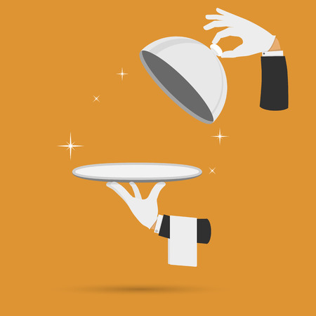 Waiter hands with cloche lid cover and towel vector illustration.