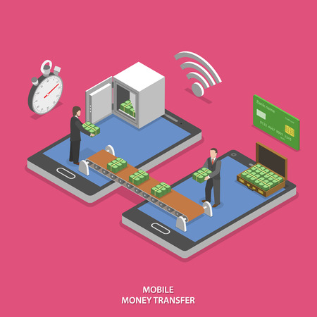 smart card: Mobile money transfer flat isometric vector concept. Business man transfer money to another one by conveyor between to mobile phones.