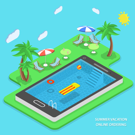 hotel resort: Summer vacation online ordering flat isometric vector concept. Swimming pool inside smartphone and beach resort items near it (palms, beach chair, cocktail, umbrella, ball, inflatable ring, air bed).