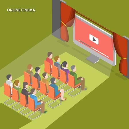 teatro: Cine línea plana vector concepto isométrico. La gente ve el vídeo en línea sentado frente a la pantalla del ordenador como en el cine.