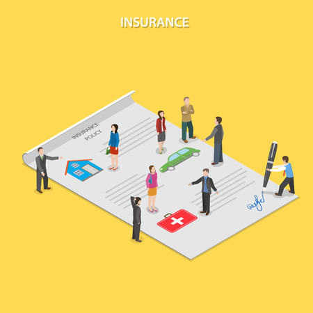 Insurance policy flat isometric vector concept. Insurance agents tell people about insurance conditions. All people are standing on paper insurance policy.