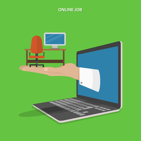 business phone: Online job searching flat vector concept. Hand with office table, chair and computer appeared from laptop screen.