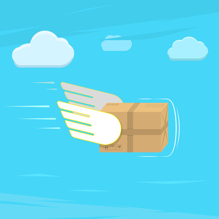 Fast delivery service flat vector illustration. Parcel with wings flies in sky among clouds. Vectores