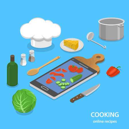 blog design: Online recipes flat isometric vector concept. Smartphone like a part of cutting board. Illustration