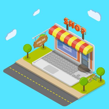 Online winkel plat isometrische vector concept. Laptop ziet eruit als winkel op de straat.