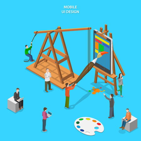 Mobile app UI design flat isometric vector concept. People paint smartphone which stands on easel.