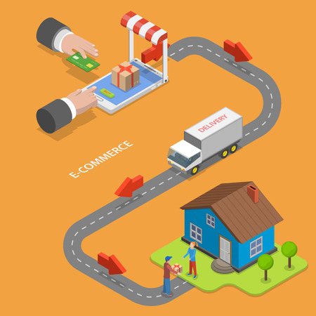 E-commerce flat isometric vector concept. Goods online store buying and delivery to the house.  イラスト・ベクター素材