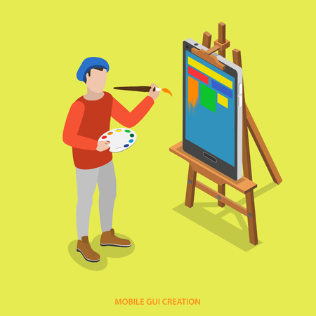 Mobile GUI creation flat isometric vector concept. A painter paints  just on smartphone which stands on easel. Ilustração
