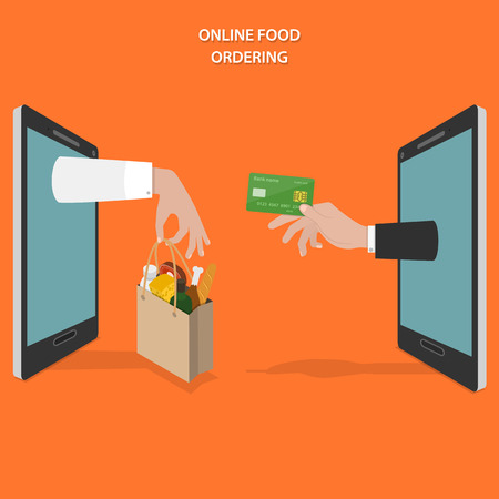 shop: Online food ordering flat vector concept. Hands of delivery man and customer appear from smartphone screen.
