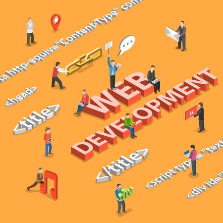 Web development flat isometrisch concept. Mensen ontwikkelen web applicatie met behulp van HTML-tags en content items. Stockfoto - 44244716