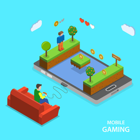 gaming: Mobile gaming flat isometric vector concept. A man is playing mobile game  sitting on the sofa.